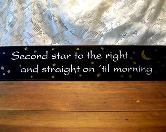 Second Star to the Right Wood Sign Wall Decor