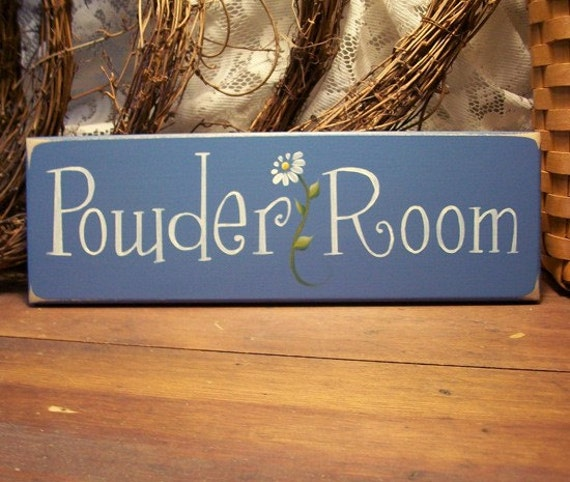 Powder Room Daisy Wood Sign Painted