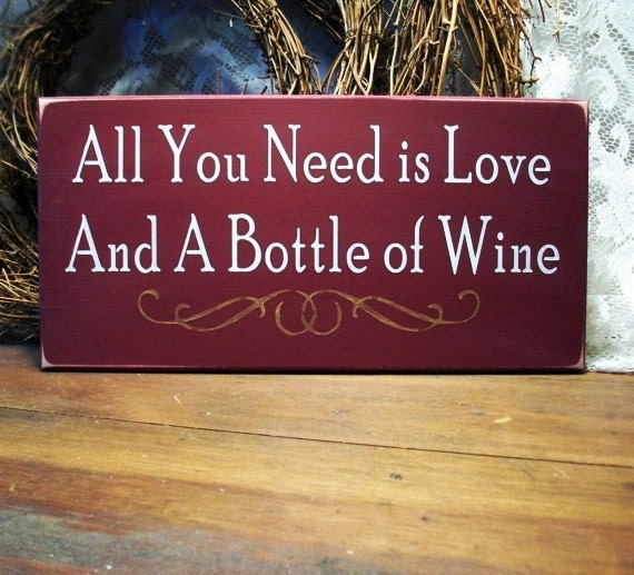 All You Need is Love and Wine Sign Wood Wine Lover Plaque Wall Decor