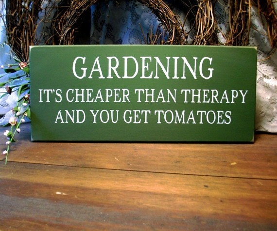 Gardening It's Cheaper Than Therapy Wood Sign Home Decor Gardener Saying Wall Decor Funny