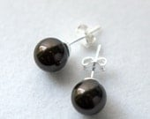 Fall Special - 8mm Dark Brown Swarovski Pearl Post Earrings with FREE SHIPPING