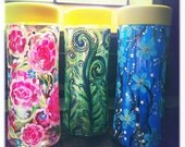 Upcycled Hand Painted Water Bottle Pink Rose