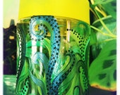 Upcycled Hand Painted Water Bottle Green Fern