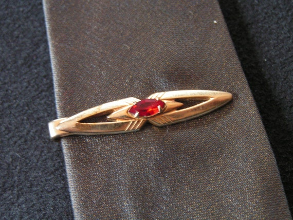 Vintage Tie Clip Swank with Red stone