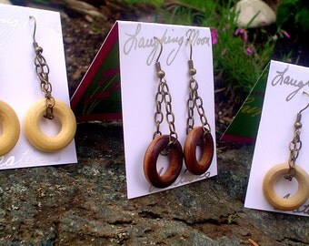 Eclipse Earrings in Wood and brass