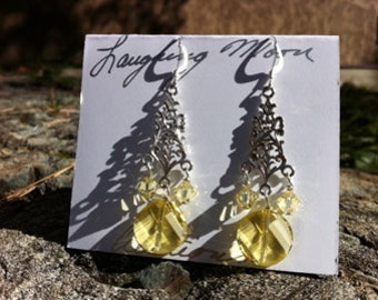 Goddess Chandelier Earring-Sterling silver and crystal