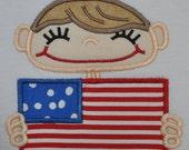 Boutique Patriotic Flag Boy T-Shirt Custom Size