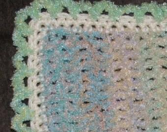 Crochet baby doll blanket Afghan 20 inch x 24 inch Rainbow