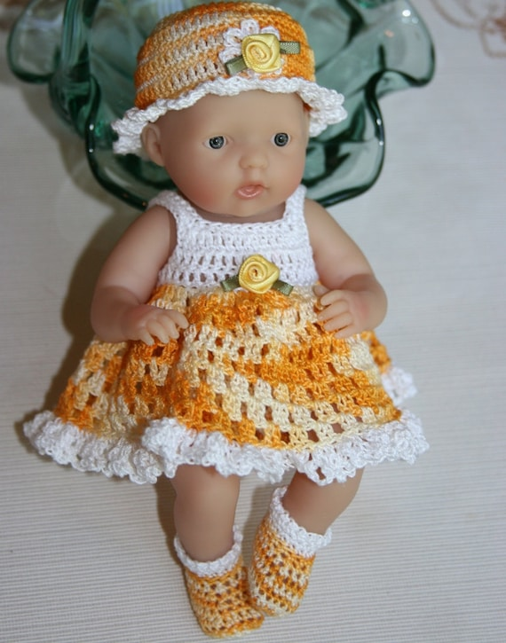 Crocheted outfit Berenguer 7.5 or Circo 8 inch slim baby doll Sundress with full skirt Set  Yellow Orange