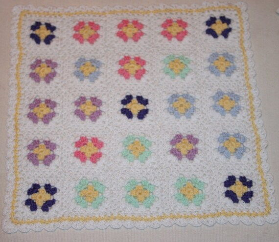 Crochet baby doll blanket Granny Square Afghan 10 inch square Cotton Thread