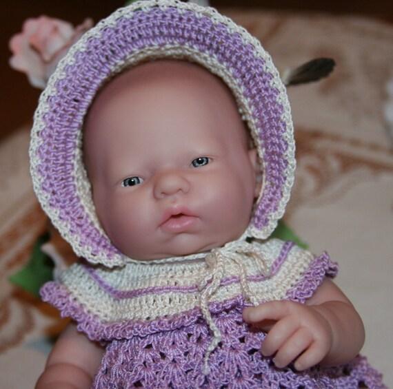 Crochet outfit Berenguer 9.5 inch baby doll Ruffled Yoke Dress Set  Lavender Ecru