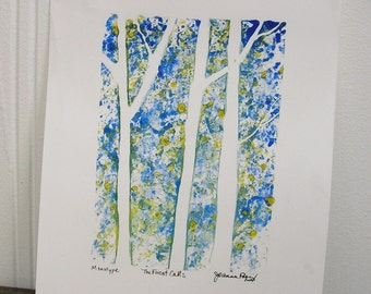 Art - The Forest Calls - monotype -printmaking by Joanna Posey
