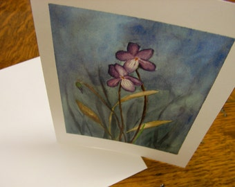 Notecards - set of 8 - violets watercolor reproduction