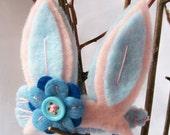 Powder pink and Baby blue felt bunny ears hair clip