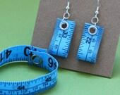 Tape Measure Jewelry Set in Blue - Earrings and Bracelet