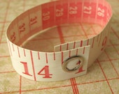 Tape Measure Bracelet in White and Red