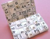 Tri-Fold Tape Measure Wallet in White