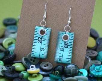 SALE! Tape Measure Earrings in Green