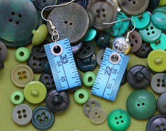 Tape Measure Earrings in Blue - Statement Jewelry created with Upcycled Measuring Tape - Dangle Earrings - Repurposed - Trashion - Crafty