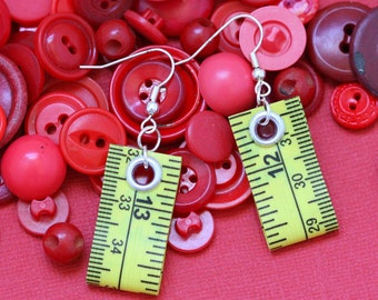 Tape Measure Jewelry Set in Bright Yellow - Earrings and Bracelet - Statement Jewelry created with Upcycled Measuring Tape