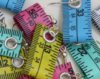 Five Pack of Tape Measure Earrings in Various Colors - Statement Jewelry created with Upcycled Measuring Tape - Dangle Earrings