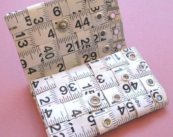 Tape Measure Wallet in White - Tri-Fold Wallet created with Upcycled Measuring Tape