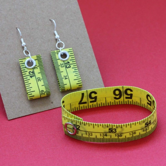 Tape Measure Jewelry Set in Bright Yellow - Earrings and Bracelet