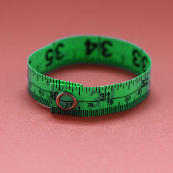 Tape Measure Bracelet in Lime Green