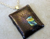Brown Fused Glass Pendant, Earthy Necklace, Gifts Under 20, Ready to Ship, Metallic Fused Glass Pendant - Bronze Jewel - 3690