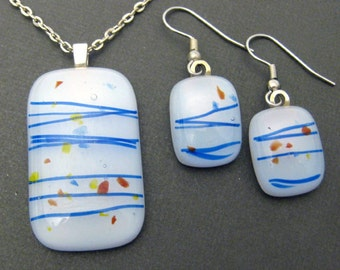 Fused Glass Jewelry, White and Blue Necklace Earring Set, Everyday Jewelry Set, Etsy Fashion - Minuet - 2137- 520 -2