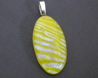 Dichroic Glass Pendant, Yellow Dichroic Jewelry, Oval Fused Glass Pendant, Omega Slide. Zebra Stripes, Gift for Her - Sunbeam -3479-2