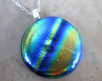 Rainbow Striped Dichroic Necklace, Fused Glass Necklace, Blue, Gold Jewelry - New Planet - 2739 -2