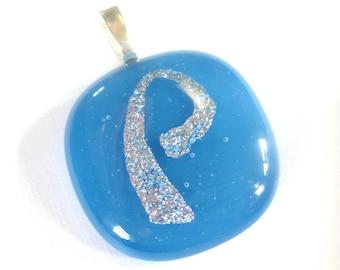 P Pendant, P Initial Pendant, Letter Pendant, Blue Omega Slide, Silver Dicro, Etsy Initial Jewelry, Fused Glass Pendant - Initial P -3596-2