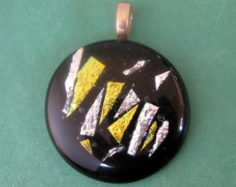 Dichroic Fused Glass Pendant, Silver and Gold Accents - Coronation - 2852