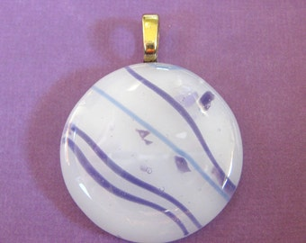 Necklace, White Purple, Round Fused Glass Pendant, Glass Slide Jewelry - Gentle Breeze - 3394