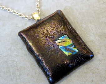 Brown Fused Glass Pendant, Earthy Necklace - Bronze Jewel - tt team 3690