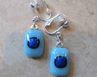 Clip On Earrings, Dangle Blue Clip Earrings, Polka Dot Earrings, Fused Glass Jewelry  - Payton - 339 -2