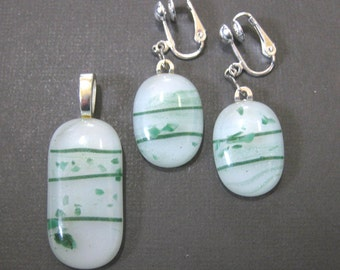Green Striped Pendant Earring Set, Glass Slide and Clip On Earrings, Fused Glass Jewelry - Think Spring -  3718