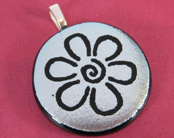Silver Dichroic Pendant, Flower Necklace, Hand Etched Glass, Fused Glass Jewelry, Ready to Ship, One of a Kind - Daisy Mae - 3760-2