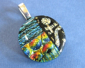 Dichroic Pendant, Fused Glass Pendant, Gold, Green, Yelllow Omega Slider, Fused Glass Jewelry, Dichroic Jewelry - Honor -3801-2