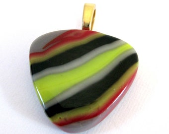 Colorful Pendant, Fused Glass Jewelry, Necklace Slider, Modern Jewelry, Large Gold Bail - Potpourri - 3825 -2
