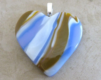 Brown and Blue Heart Jewelry, Earthy Fused Glass Pendant - Romantic Intrigue - 3948 -2
