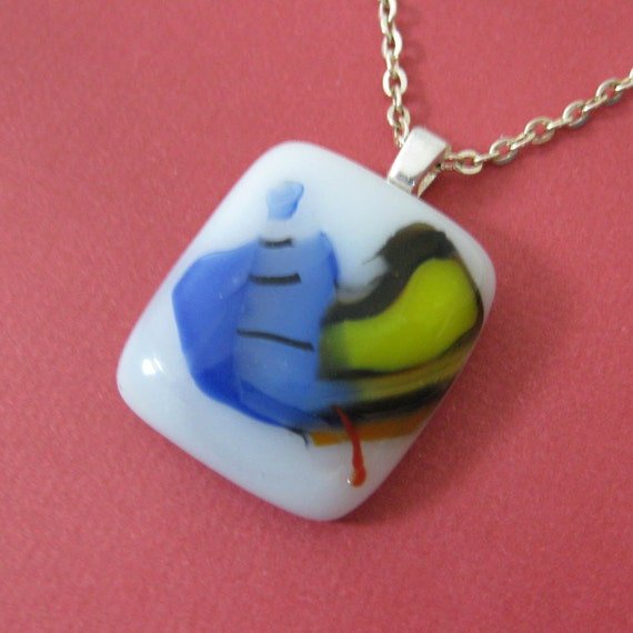 Colored Glass Necklace, Spring Necklace, Abstract Pendant, Small Fused Glass Jewelry - Banana Split - 3469