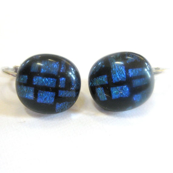 Clip on Earring, Dichroic Clipon Earrings, Blue Clip On Jewelry - Brick and Mortar - 1261 -2