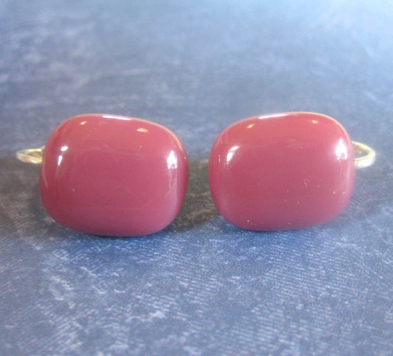 Dark Pink Clip On Glass Earrings, non pierced Earrings  - Lipstick - 1205