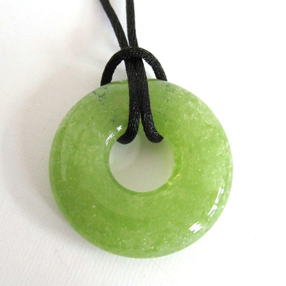 Green Glass Necklace, Handmade, Donut, Fused Glass Pendant, Green Jewelry, Ready to Ship  - Appletini - 3877 -2