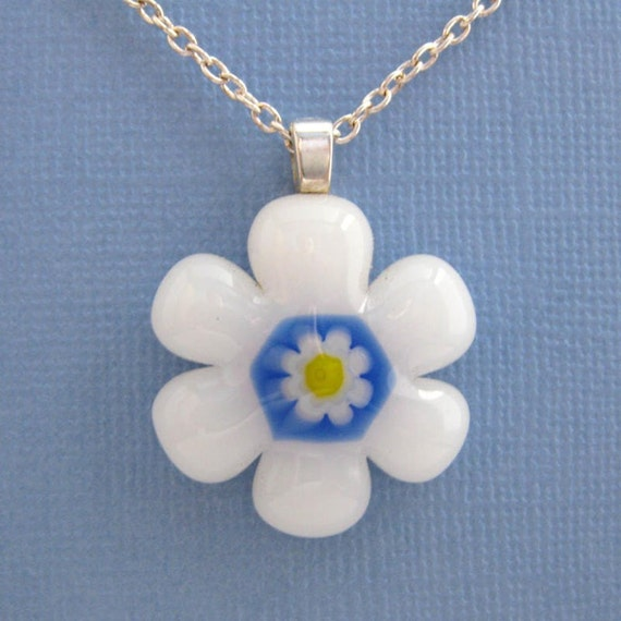 White Glass Flower Pendant, Fused Glass Pendant and Necklace - Sun Kissed - 2480