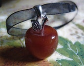 Witches Magical Fruit of Knowledge Apple Charm Pendant. Carnelian Gemstone for Luck, Success, Protection and Happiness
