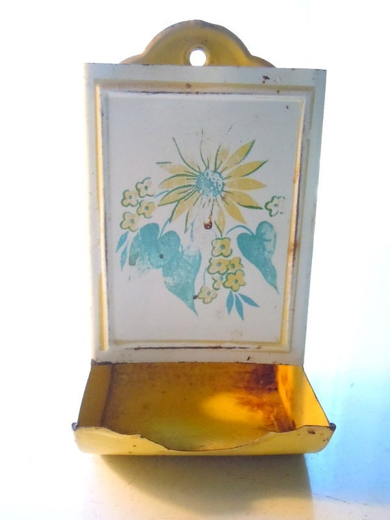 Vintage Tin Wall Matchbox Holder Yellow and White with Yellow Flowers