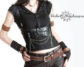 Mad Max Steampunk Harness BLACK Faux Leather Underbust Bodice with Silver Gears, Buckles, Chain, and Antique Keys by Velvet Mechanism
